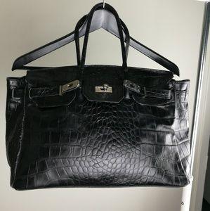 """Vintage black """"Birking inspired"""" leather bag."""